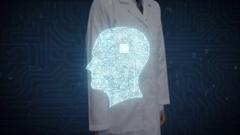 Doctor touching digital screen, Brain head shape connect digital lines. Stock Footage