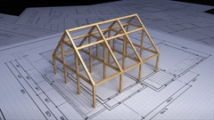 Wood frame making house on architectural design plan paper. Stock Footage