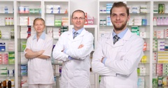 Pharmacists Group People Introduction Looking Camera Pharmacy Store Presentation Stock Footage