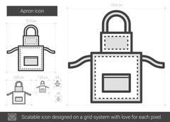 Apron line icon Stock Illustration