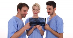 Dentist Persons Team Work Talk Examine Radiography Control Dental Clinic Concept Stock Footage