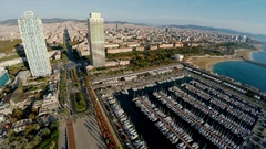 Aerial view. Barcelona. Architecture, buildings and streets. Coastline. Spain. Stock Footage