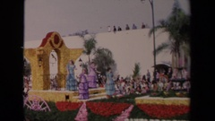1967: a group of ladies on a float waving during a parade. LOS ANGELES Stock Footage
