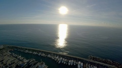 Aerial view. Berth yacht and boats off the coast of Barcelona. Spain. ProRes. Stock Footage