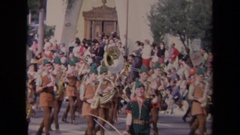 1967: musical band parade in the street LOS ANGELES CALIFORNIA Stock Footage