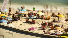 Time lapse of aerial view of people on a beach, Rio de Janeiro, Brazil Stock Footage