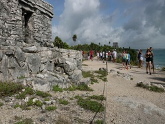 Tulum Mexico tourism building overlook ocean DCI 4K Stock Footage