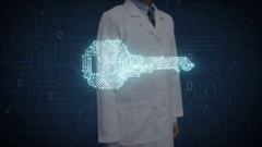 Doctor touching digital screen, shape of key, circuit board line, security Stock Footage