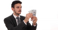 Serious Businessman Counting American Banknotes Payment Salary Isolated White Stock Footage