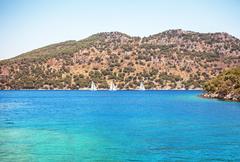 Sailboats Bay Turquoise Water Sea Hills Stock Photos