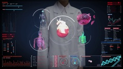 Female doctor touching digital screen, blood vessel, heart, circulatory system Stock Footage