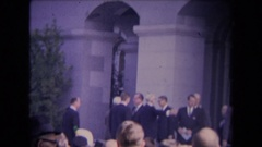 1967: ronald reagan inauguration formal assembly outside of a large building Stock Footage