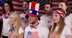 American Supporters Group Watching Tennis Match Sport Event Look Left and Right Stock Footage