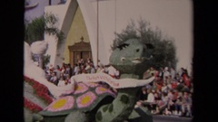 1967: parade with a turtle like designed tabu LOS ANGELES CALIFORNIA Stock Footage