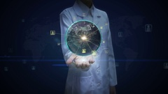 Female doctor open palm, Rotating earth, expanding social network service. Stock Footage