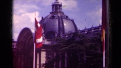 1939: building which appears to be a palace of some sort draws tourists Stock Footage