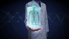 Doctor open palm, Human body scanning lymphatic system. Blue X-ray light. HD Stock Footage