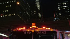 New York, USA -: Flashing beacons fire engine. At night background of Stock Footage