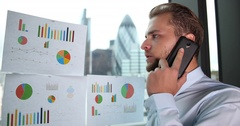 Happy Businessman Answer Talking Mobile Phone Great Sales London Skyline Center Stock Footage