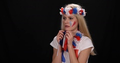 Happy Enthusiastic France Supporter Woman Goal Cheering Shouting Ovation Concept Stock Footage