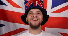 Happy British Supporter Shouting United Kingdom Manifestation Acclaiming Concept Stock Footage