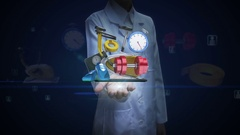 Female doctor open palm, various Health care equipment. diet. exercise .bike, Stock Footage