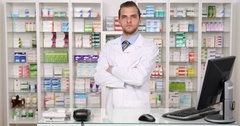 Pharmacist Specialist American Man Look Camera Pharmacy Store Drugstore Concept Stock Footage