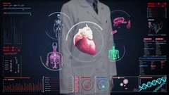 Doctor touching digital screen, blood vessel, heart, circulatory system. Stock Footage