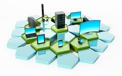 Network with pentagon tiles connecting electronic devices. 3D illustration Stock Illustration