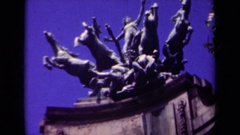 1939: an intricate, detailed, bronze statue sits high atop a perch PARIS FRANCE Stock Footage