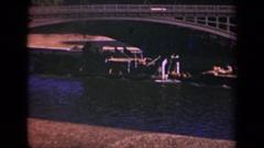 1939: barge proceeding on a river under a bridge PARIS FRANCE Stock Footage
