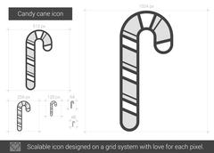 Candy cane line icon Stock Illustration
