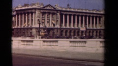 1939: a busy street with traffic overlooking an old architectural wonder PARIS Stock Footage