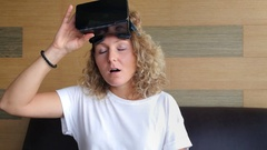 Happy Excited Woman in VR Glasses Stock Footage