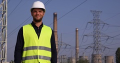 Happy Electricity Engineer Man Look Camera Cheerful Thumb Up Sign Electric Tower Stock Footage