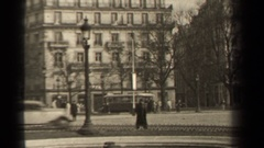 1947: people walking through a busy town square of a city PARIS FRANCE Stock Footage