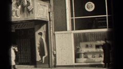 "1947: murals and cutouts adorn facade that reads ""sciuscia""  Stock Footage"