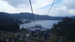 Cable car station of Yuchi, view from inside cable car Stock Footage