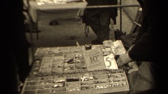 1947: small merchant counting money in cash box PARIS FRANCE Stock Footage