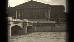 1947: a schematic view of the artistic monument from the flowing river side Stock Footage