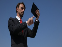 Ceo Businessman Using Digital Tablet Checking Partner Airplane Approach Overhead Stock Footage