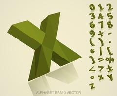 Set of Khaki 3D polygonal Numbers And Mathematical Symbols with reflection. EPS Stock Illustration
