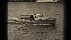 1947: motorboat travels down body of water PARIS FRANCE Stock Footage