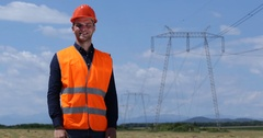 Optimistic Electricity Worker Man Show Camera Thumb Up Sign Wire Lines Network Stock Footage