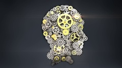 Steel gears making human head shape. human intelligence. Stock Footage