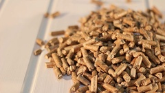 A pile of birch wooden pellets Stock Footage