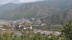 View of the Kingdom of Bhutan Stock Footage