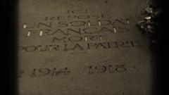 1947: a memorial stating ici repose un soldat français mort poure la patrie Stock Footage