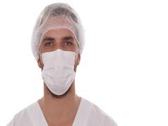 Handsome Medical Doctor Man Wear Hygiene Mask Looking Camera Healthcare Hospital Stock Footage