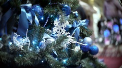 Slider view of blue mirror and matte balls. New Year's and abstract blurred Stock Footage
